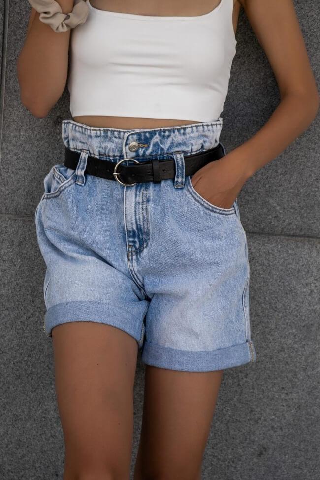 Jean Shorts με Ζώνη Highwaisted