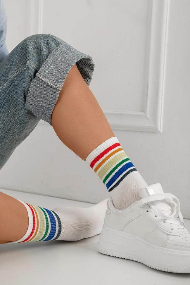 Κάλτσες Ημίκοντες με Ρίγες