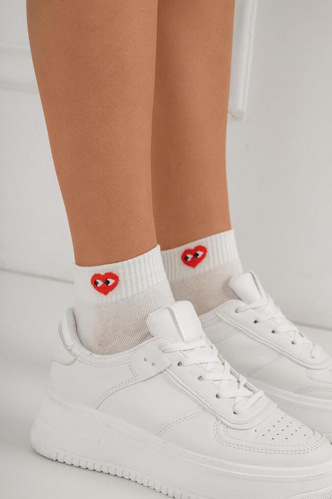 Κάλτσες Λευκές Κοντές με Σχέδιο
