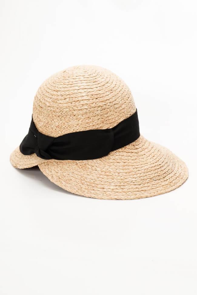 Καπέλο Ψάθινο με Μαύρη Κορδέλα