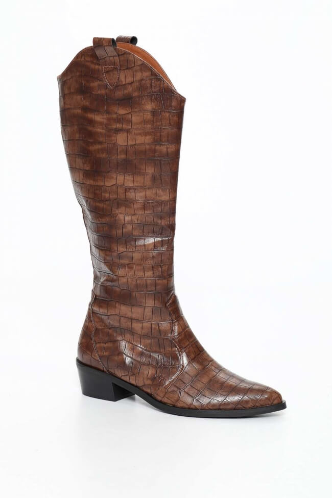 LUIGI DESIGN - Cowboy Μπότες Μυτερέ Croco