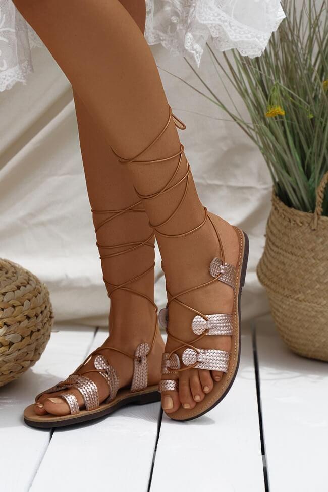 LUIGI DESIGN - Δερμάτινα Flat Σανδάλια Lace Up