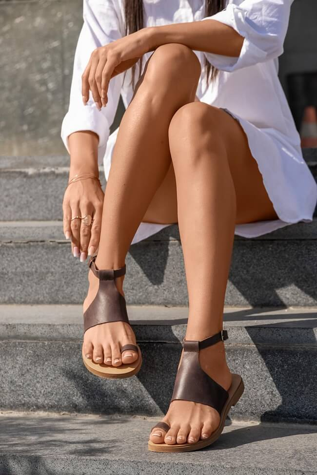 LUIGI DESIGN - Δερμάτινα Flat Σανδάλια με Λουράκια