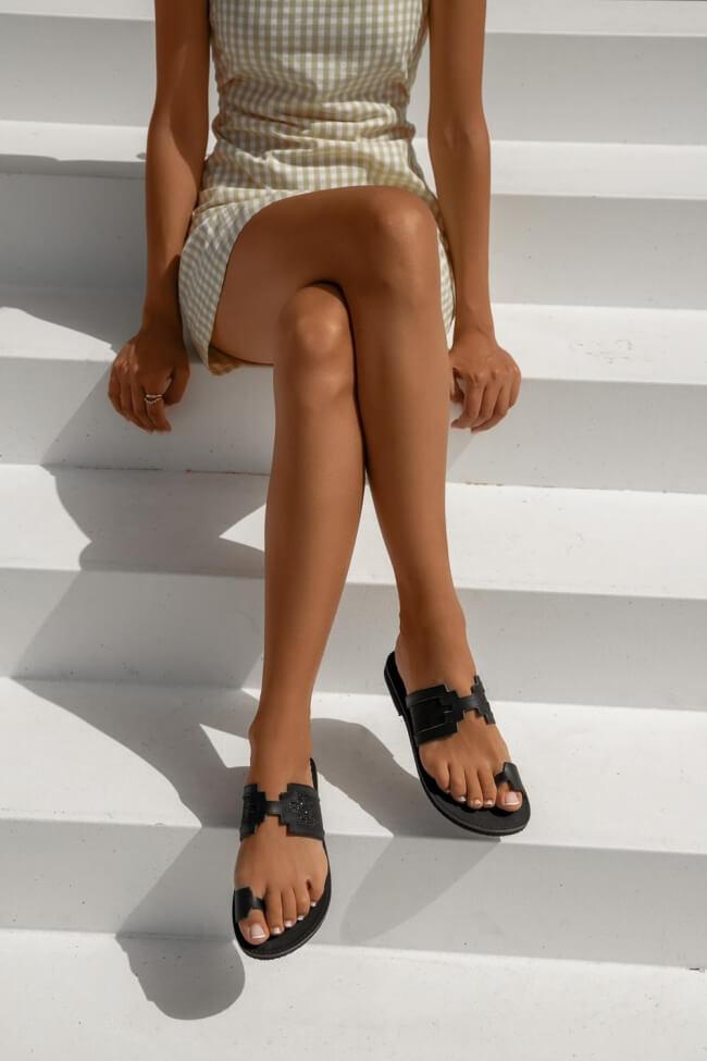 LUIGI DESIGN - Δερμάτινα Flat Σανδάλια με Λουράκια Glitter