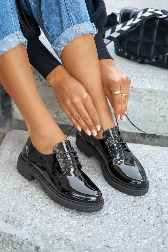 LUIGI DESIGN - Δετά Παπούτσια - Μαύρο-Λουστρίνι