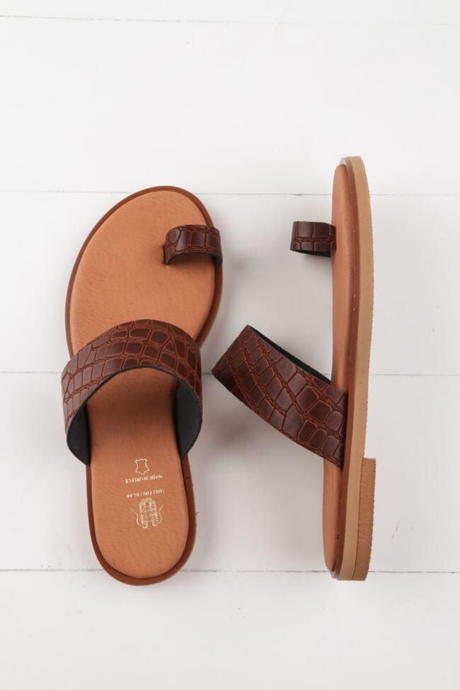 LUIGI DESIGN - Flat Σανδάλια Croco