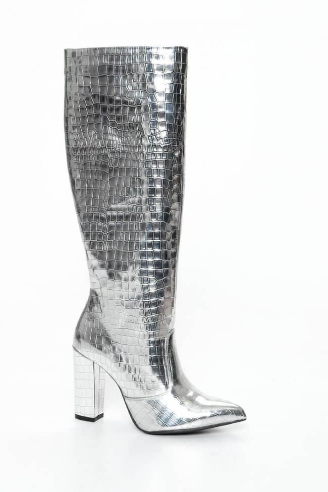 LUIGI DESIGN - Μπότες Μυτερές Γόνατο με Τακούνι