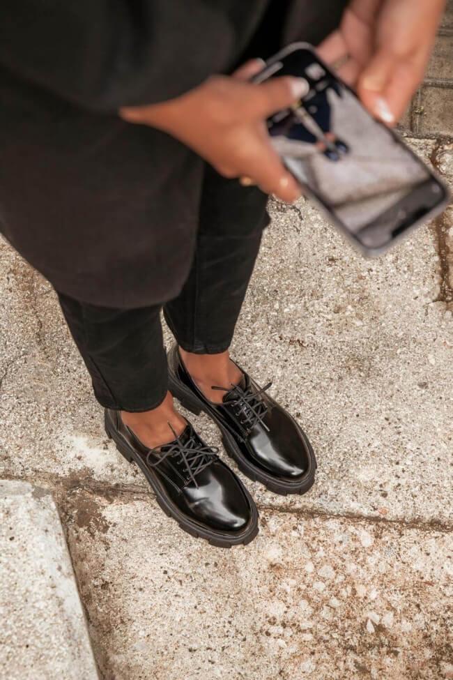 LUIGI DESING - Δερμάτινα Δετά Παπούτσια με Τρακτερωτή Σόλα