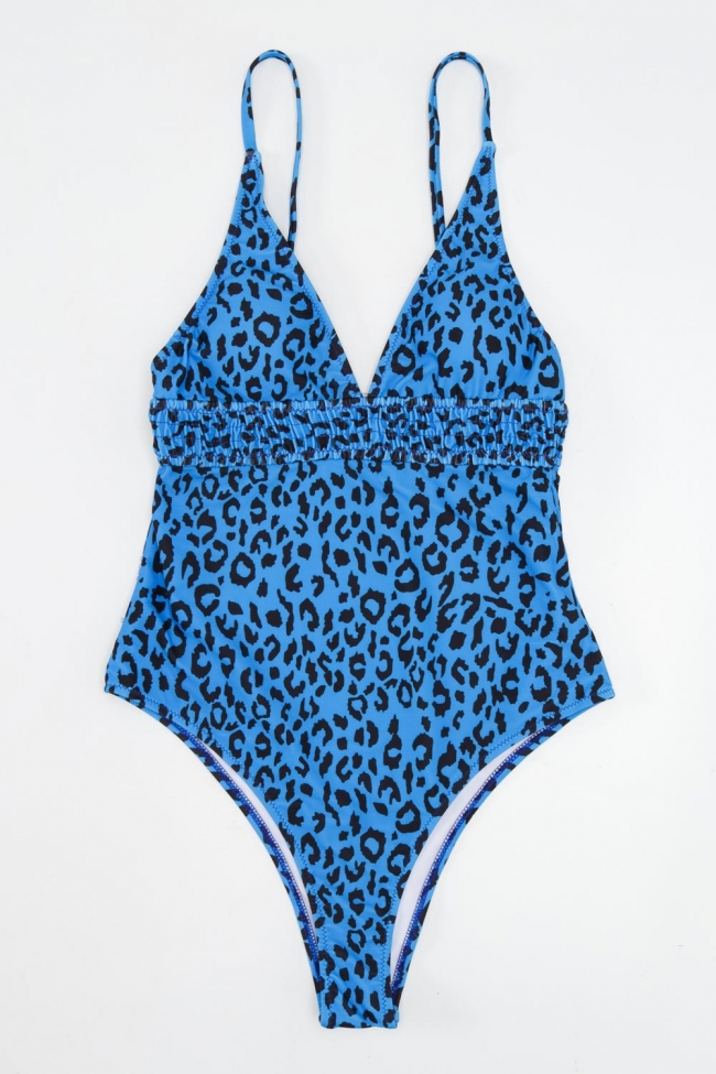 GIGI-Μαγιό Ολόσωμο Animal Print - Μπλε