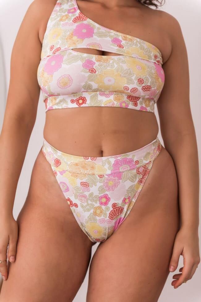 GIGI-Μαγιό Slip Ψηλόμεσο Floral Plus Size