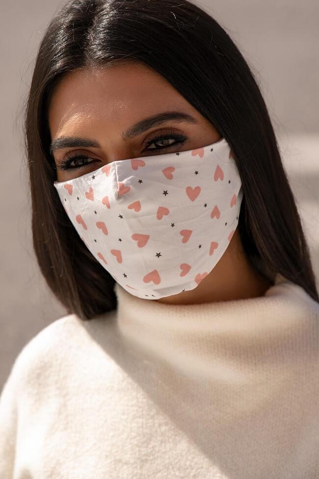 Μάσκα Πολλαπλών Χρήσεων Υφασμάτινη Καρδούλες