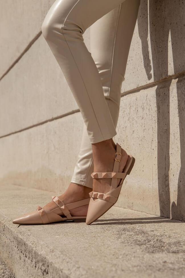 Μπαλαρίνες Μυτερές Open Heel με Τρουκς