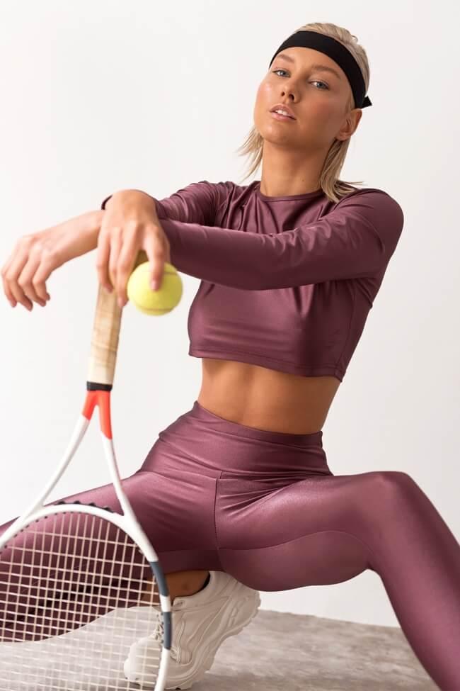 Μπλούζα Αθλητική Crop με Μακρύ Μανίκι