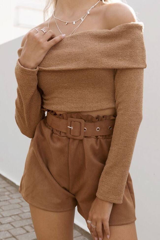 Μπλούζα Crop Off Shoulder