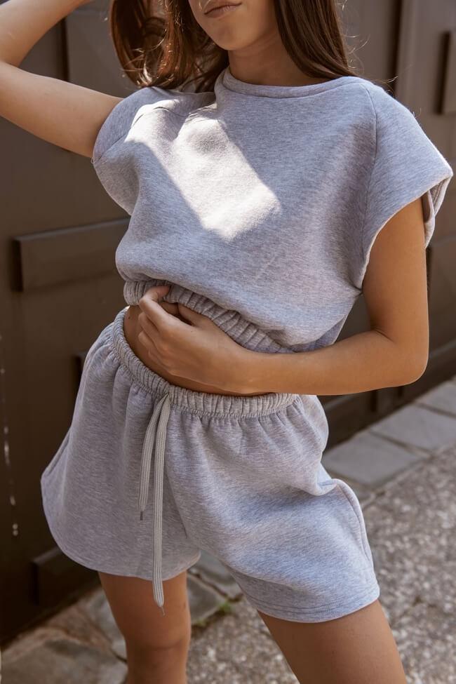 Μπλούζα Crop Top με Λάστιχο