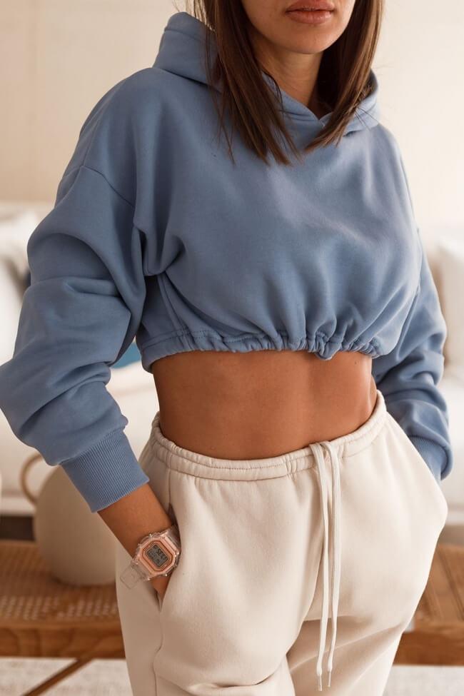 Μπλούζα Φούτερ Crop Top με Κουκούλα