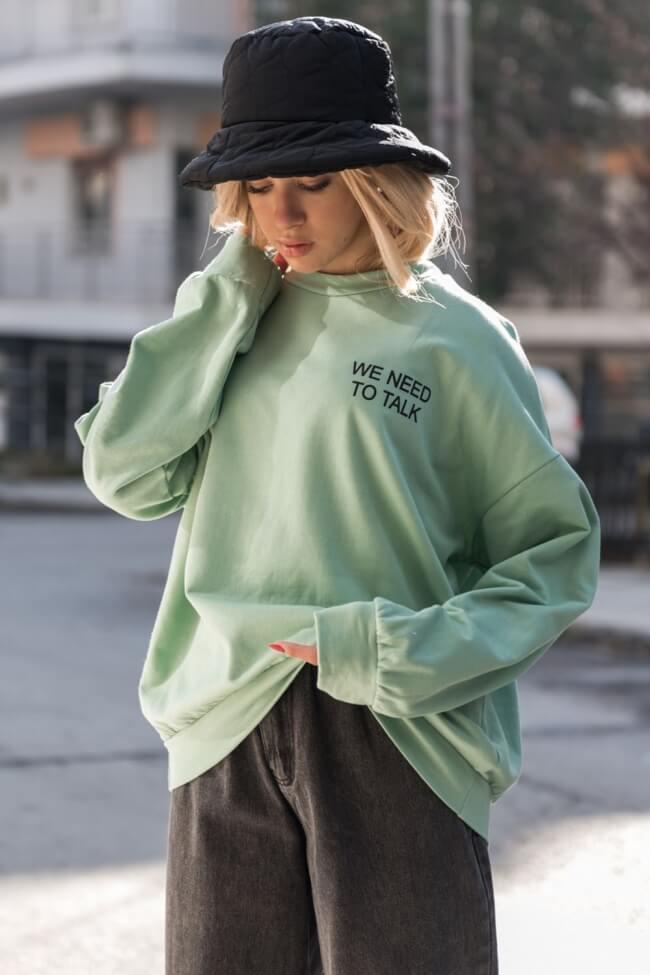 Μπλούζα Φούτερ Oversized με Στάμπα