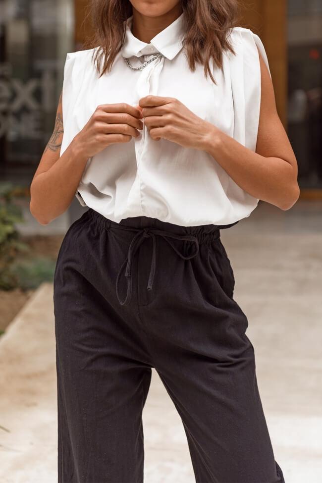 Μπλούζα με Λάστιχο και Κουμπιά χωρίς Μανίκι