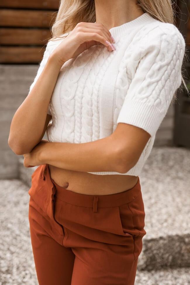 Μπλούζα Πλεκτή Crop Top με Πλεξούδες