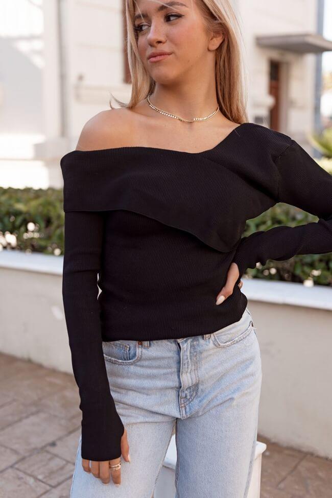 Μπλούζα Πλεκτή Off Shoulder