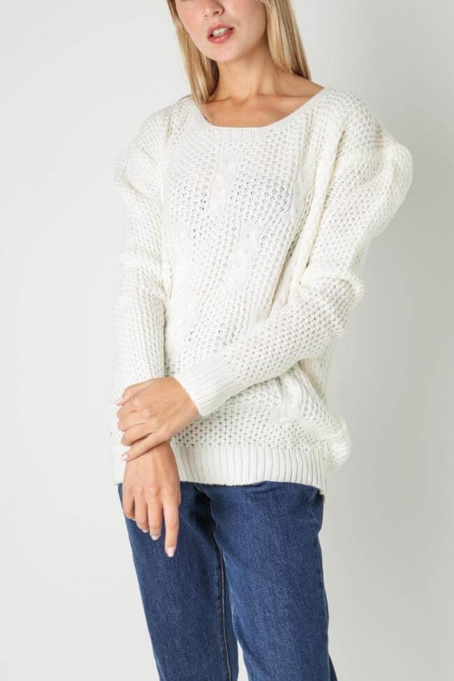 Μπλούζα Πλεκτή Pointelle Knit με Άνοιγμα στον Λαιμό