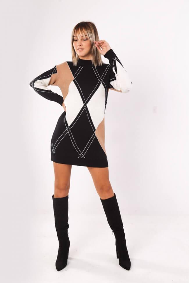 Μπλουζοφόρεμα Πλεκτό Rhombus Style