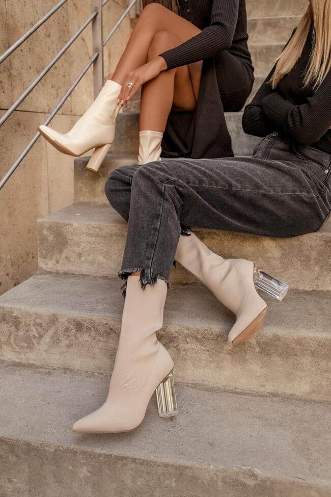 Μποτάκια Κάλτσα με Διάφανο Τακούνι
