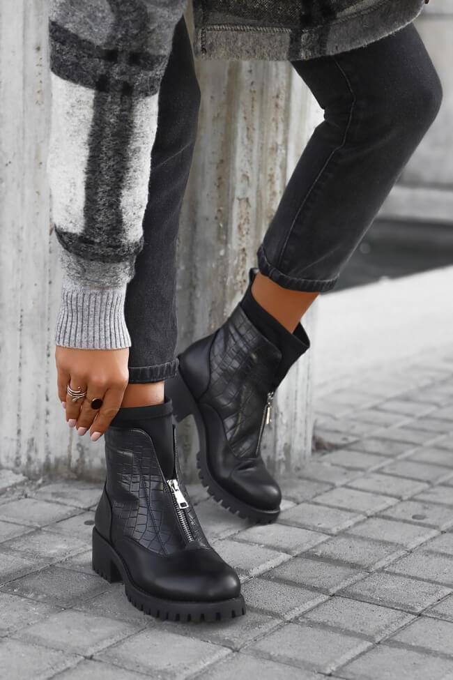 Μποτάκια Κάλτσα με Λεπτομέρεια Croco