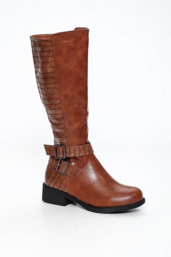Μπότες Γόνατο με Λεπτομέρεια Croco
