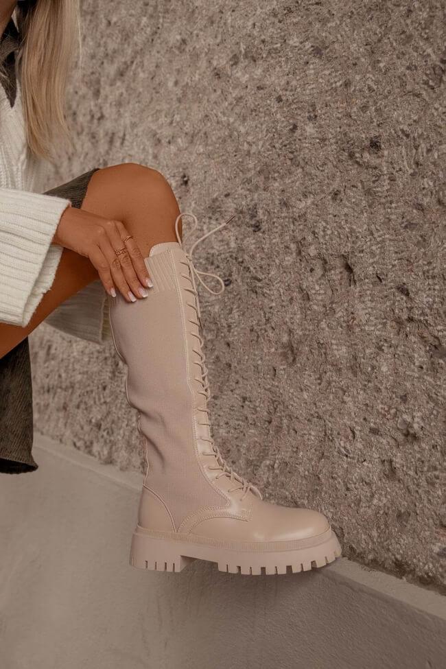 Μπότες Κάλτσα με Κορδόνια