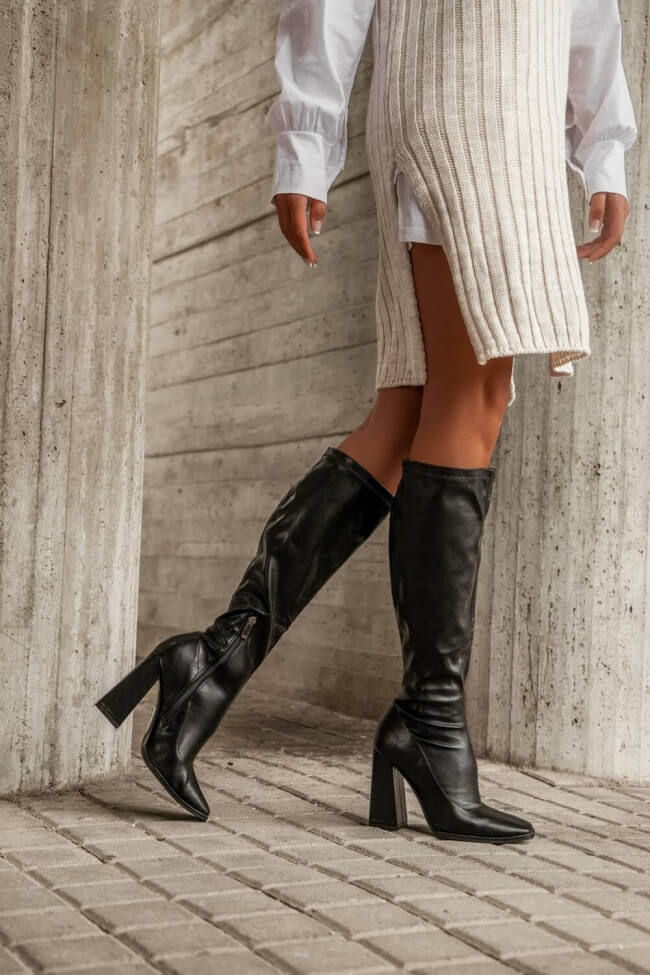 Μπότες Κάλτσα με Τετράγωνη Μύτη
