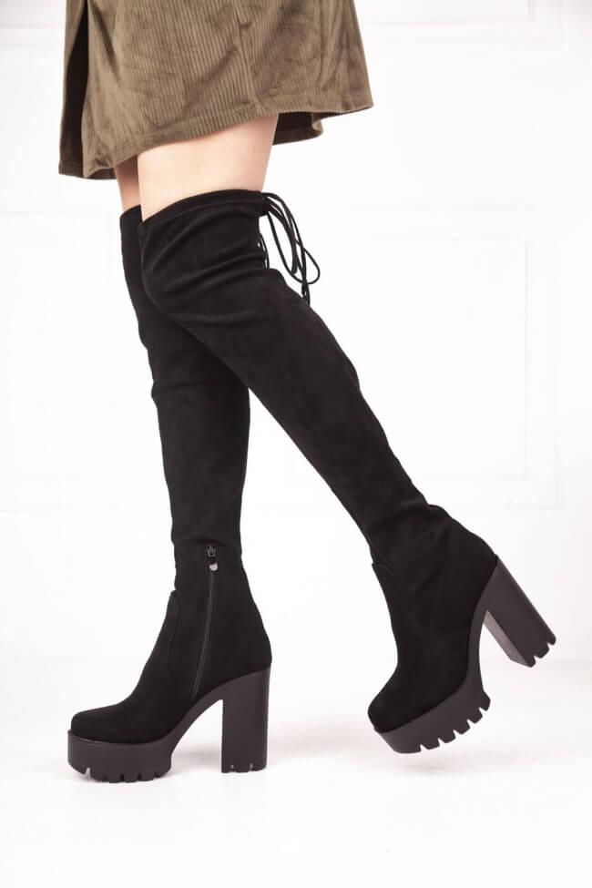Μπότες Κάλτσα Over the Knee με Φιάπα