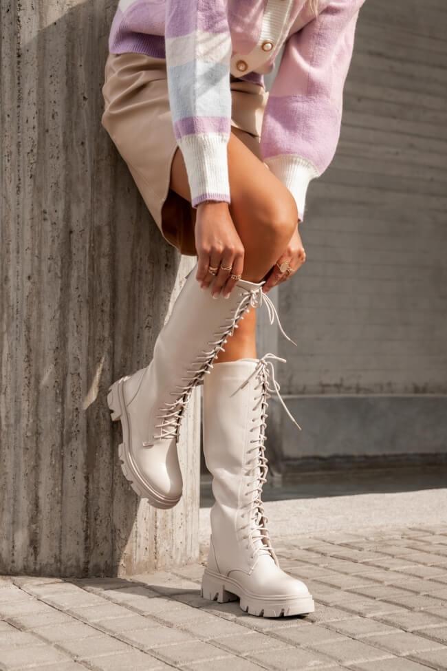 Μπότες με Κορδόνια & Φερμουάρ απο Πίσω