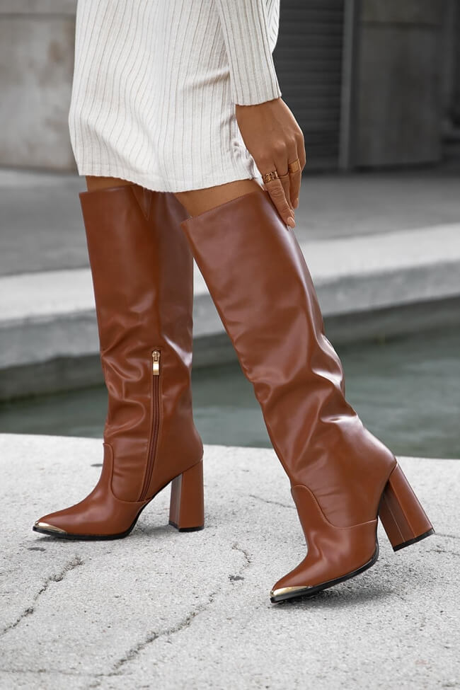 LUIGI DESIGN - Μπότες με Μεταλλική Μύτη & Σούρα
