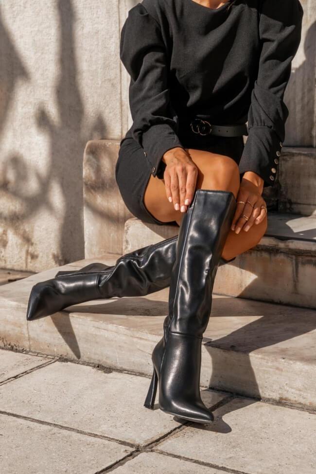 Μπότες Μυτερές με Ιδιαίτερο Τακούνι
