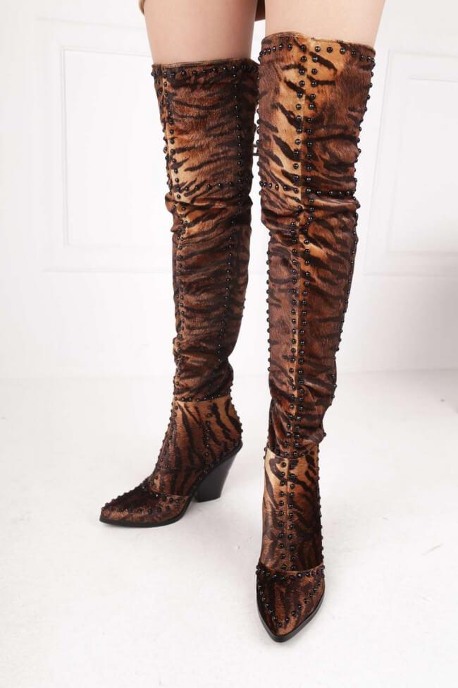 Μπότες Μυτερές Over the Knee με Cowboy Τακούνι