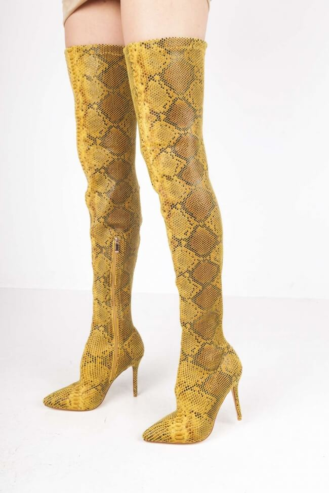 Μπότες Μυτερές Over the Knee Snake Print