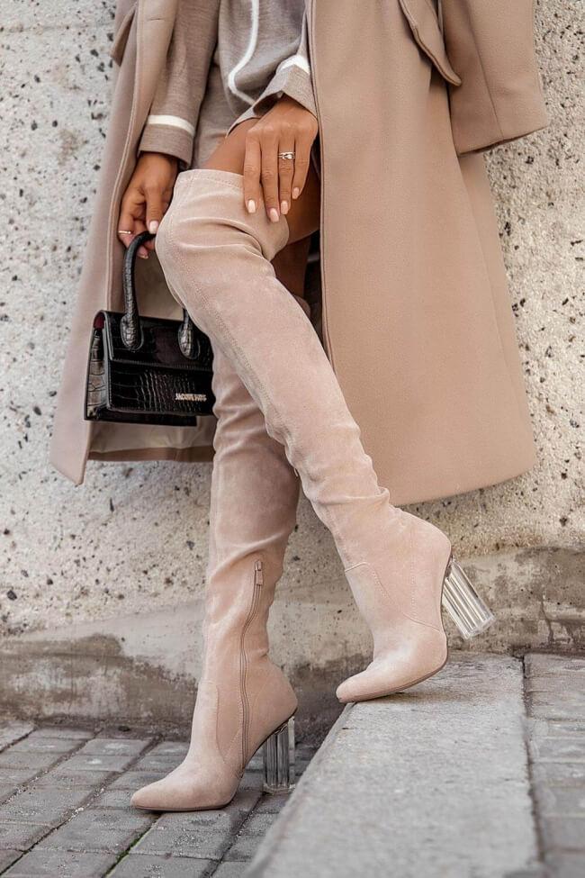 Μπότες Over the Knee με Διάφανο Τακούνι