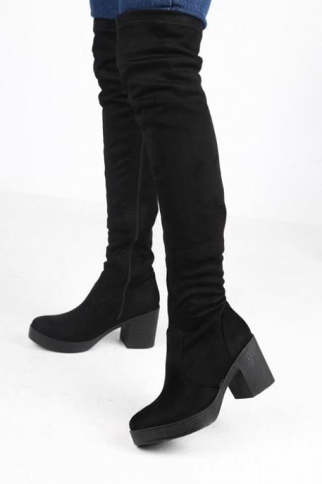 Μπότες Over the Knee με Τακούνι & Φιάπα