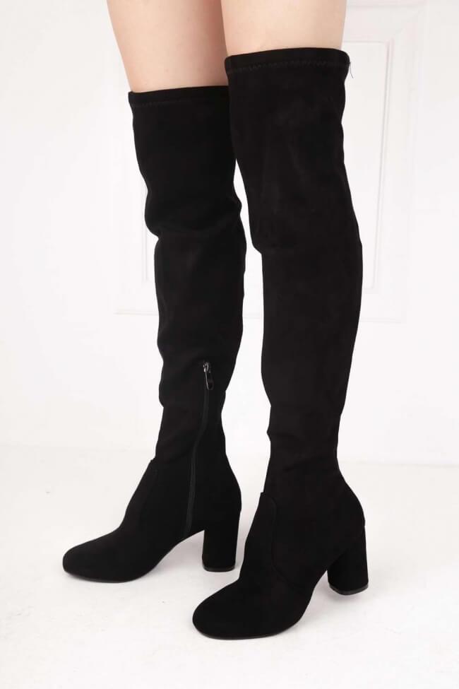 Μπότες Over the Knee με Χαμηλό Τακούνι