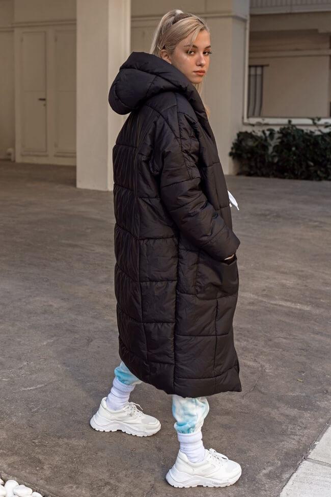 Μπουφάν Puffer Oversized με Κουκούλα