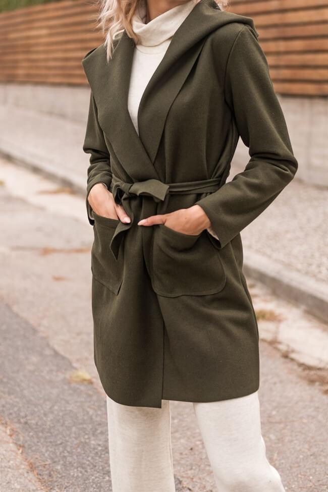 Παλτό Μακρύ με Ζώνη & Κουκούλα