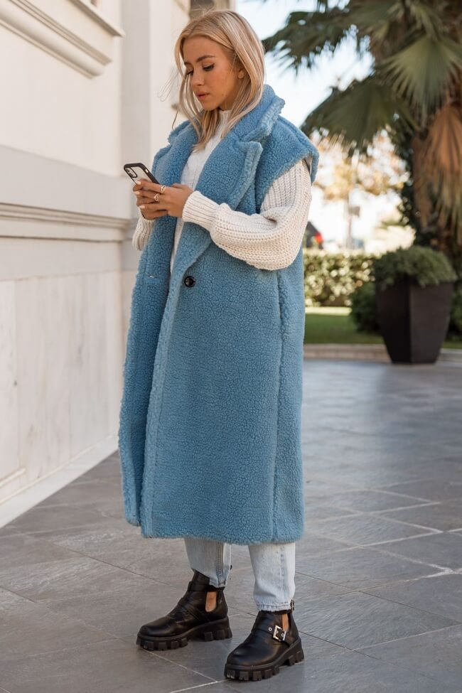 Παλτό Μακρύ Oversized Teddy