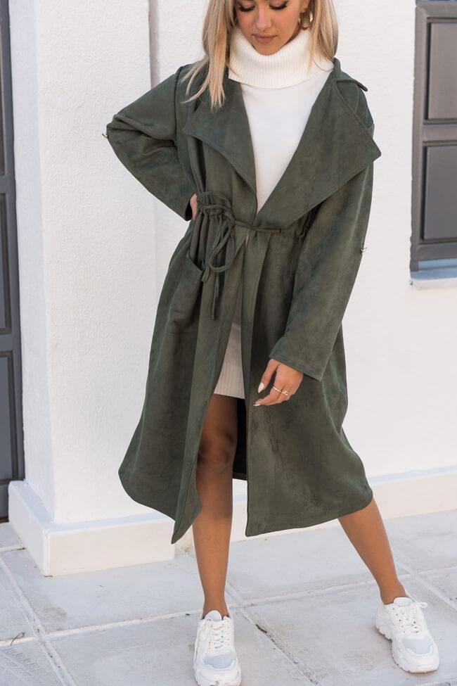 Παλτό Suede με Ζωνάκι