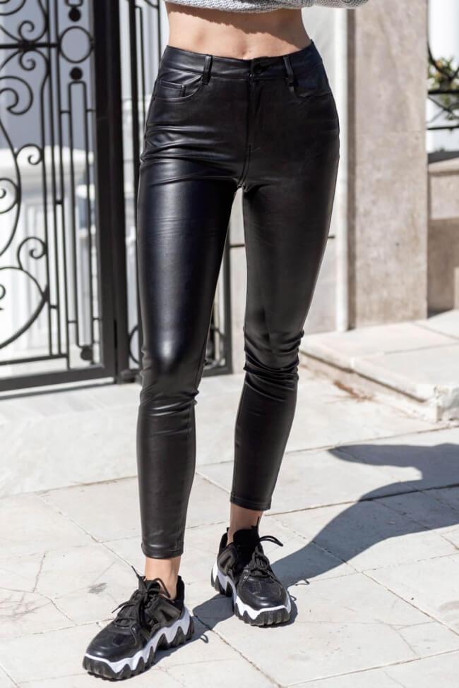 Παντελόνι Δερματίνη Ελαστικό με Τσέπες