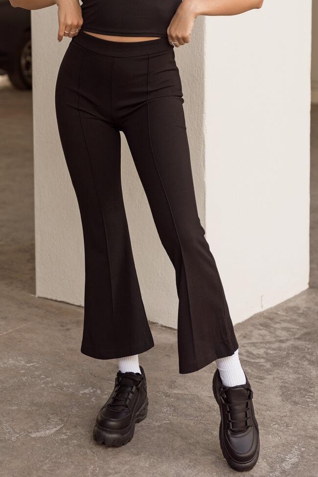 Παντελόνι Ελαστικό Καμπάνα με Φερμουάρ στο Πλάι