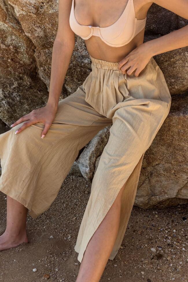 Παντελόνι Λινό με Σκίσιμο στο Πλάι