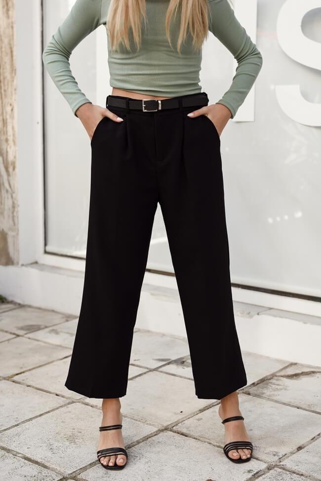 Παντελόνι Zip Cullote Highwaisted με Ζωνάκι