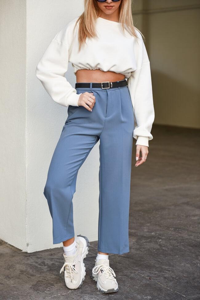 Παντελόνι Zip Culotte Highwaisted με Ζωνάκι
