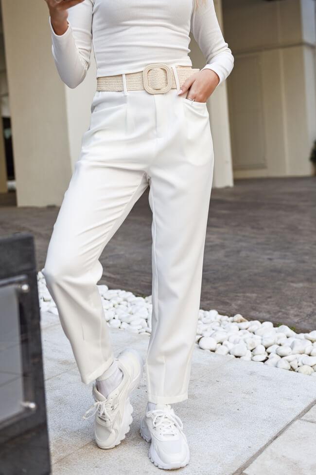 Παντελόνι Ζip Culotte με Ψάθινη Ζώνη
